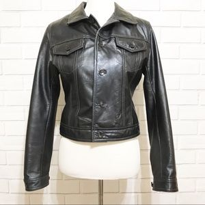 Wilson's Leather Black Button Front Jacket Size M